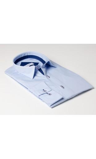 chemise bi color bleu